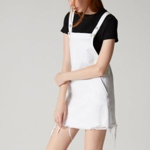 Blank NYC White Denim Overall Jumpsuit Dress